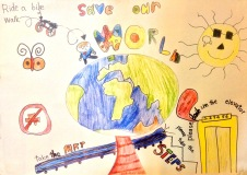 Poster Contest 1st prize. Save Our World Poster, take the elevator, walk, ride a bike