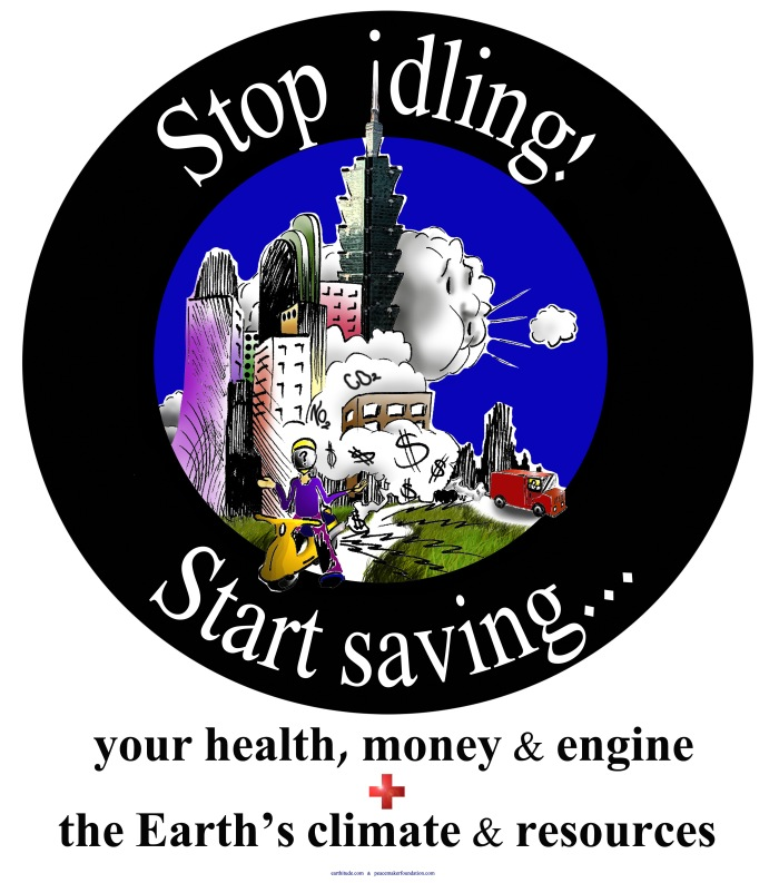 Stop engine idling poster in Taipei