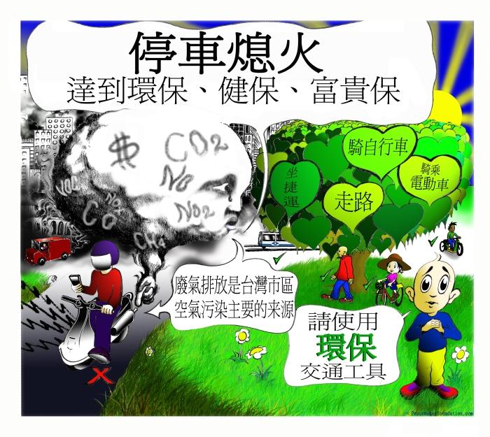 '停車熄火'+'環保交通' 貼紙或海報, 台灣市區