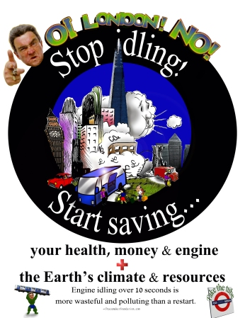'Stop Idling Start Saving' poster for London