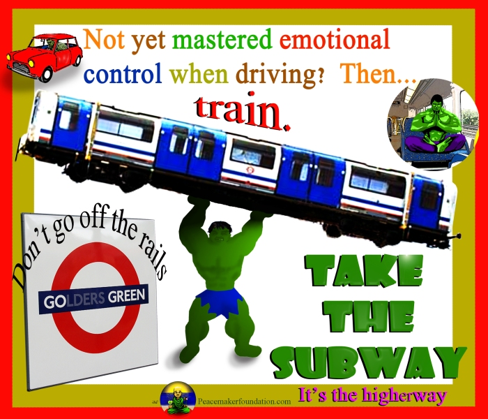 Go Green Take the Subway (For America), Hulk lifting train,