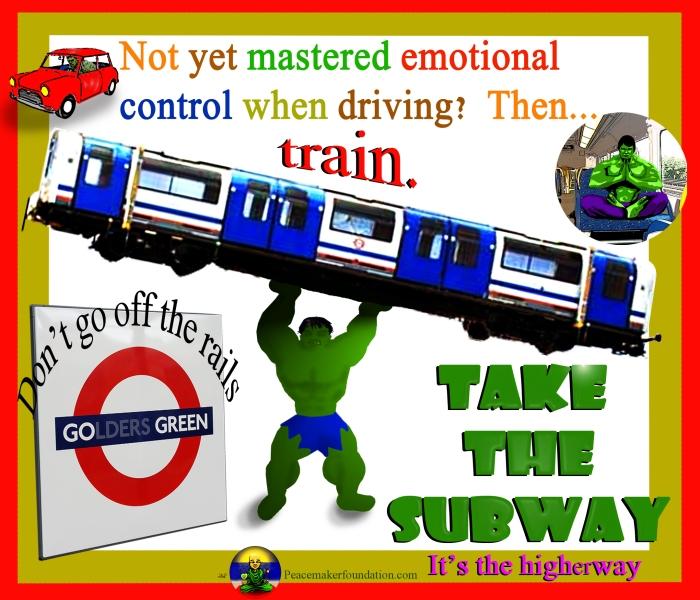 Go Green Take the Subway (For America), Hulk lifting train,