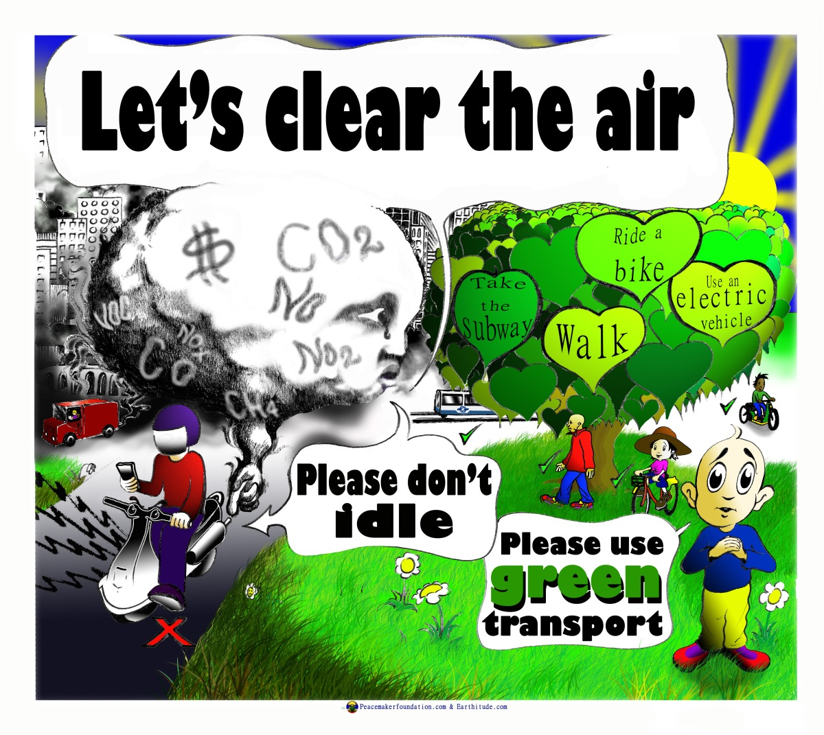 Let's clear the air. Please don't idle. Cartoon poster.