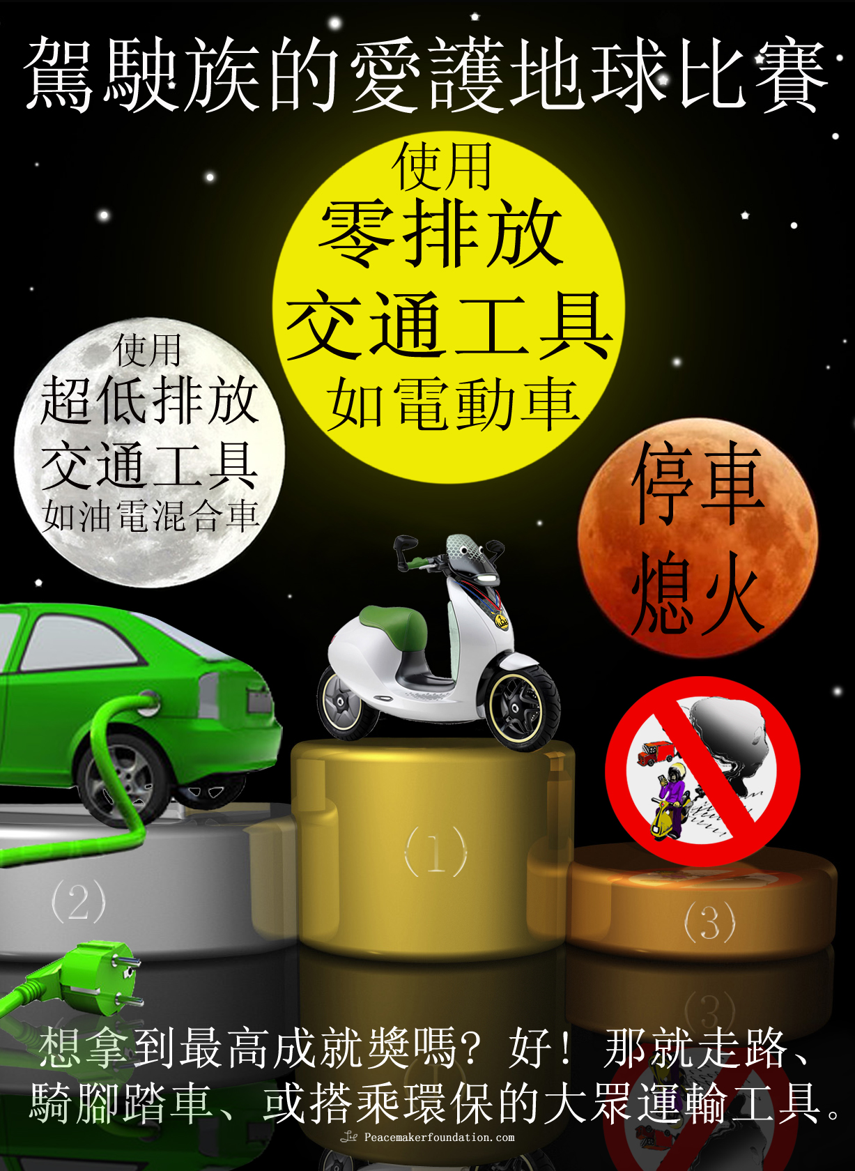 Save the Earth Competition, Electric vehicles, electric scooters, hybrid vehicles, low emission vehicles, don't idle, public transport