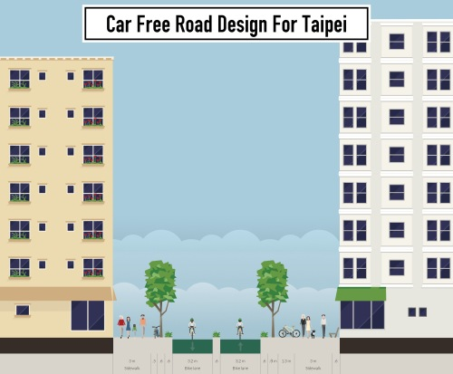 car-free road design for Taipei