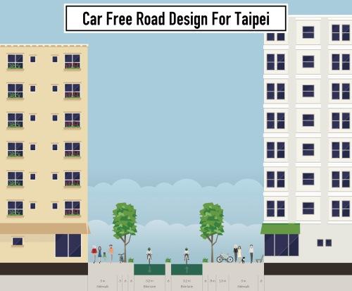 car-free road design for Taipei