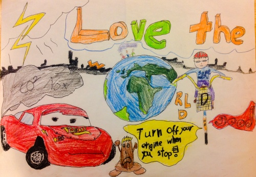 poster contest 1st prize. Love the world, love children, stop engine idling 停車熄火