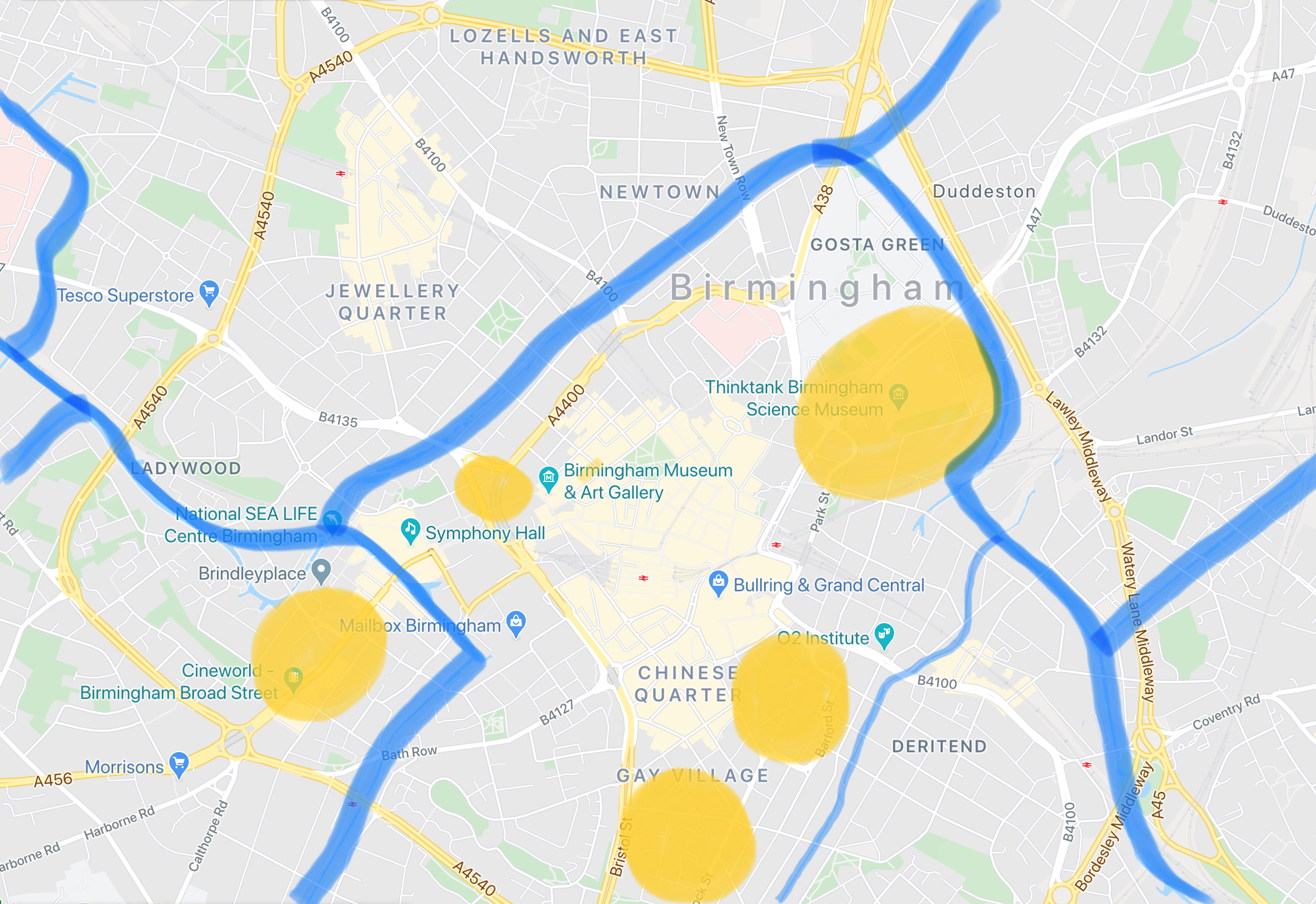 Map of canals (2020 Google Maps Data)